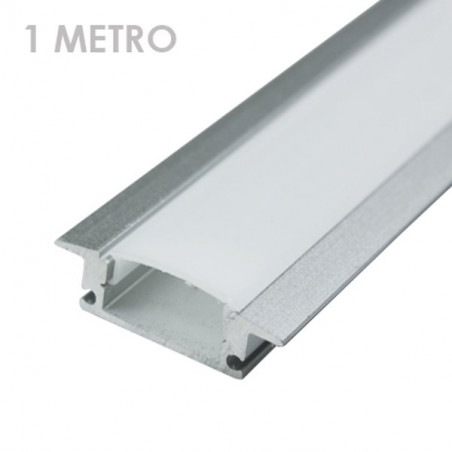 Profile for 1 m LED Strips - Rectangular, Aluminium, Clips