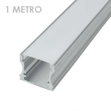 Profile for 1 m LED Strips - Rectangular, Aluminium, 19 x 19 x 1000mm, Clips