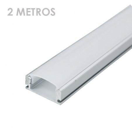Perfil rectangular aluminio tira led 2 m