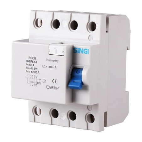 Residual current circuit breaker 4P 6kA