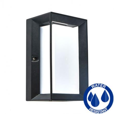 LED E27 square black wall lamp IP54