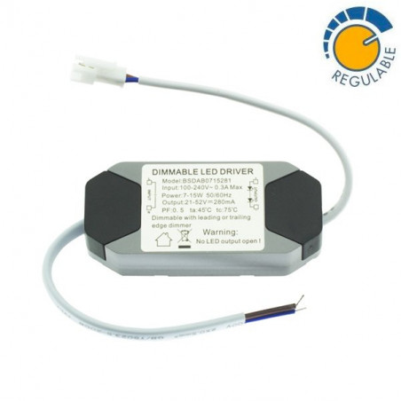 Driver REGULABLE para downlight LED de 7W a 15W