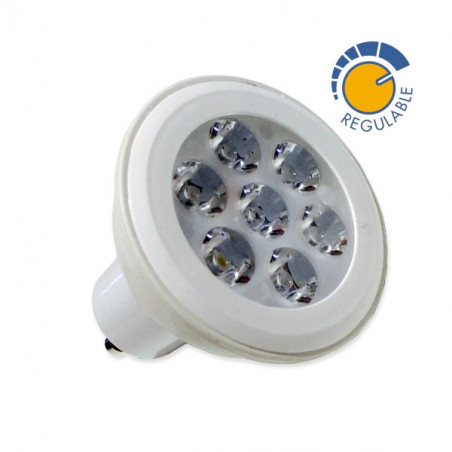 Dicróica Led 7W GU10 regulable, luz blanca y calida, 600 lumens